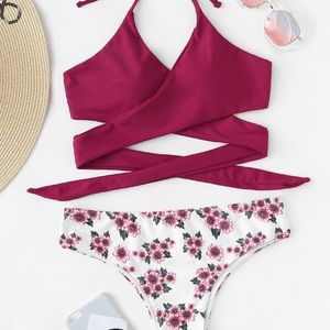 Other - ❤️💞 Just In Wrap Halter Top Floral Bikini Set